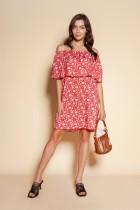 Krótka sukienka hiszpanka, SUK201 czerwony wzór