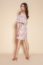 Krótka sukienka hiszpanka, SUK201 różowy wzór
