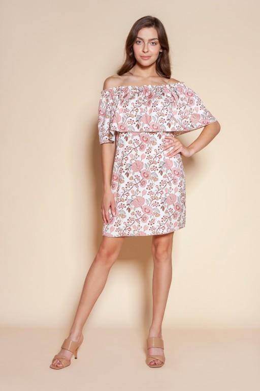 Short off-the-shoulder dress, SUK201 pink pattern