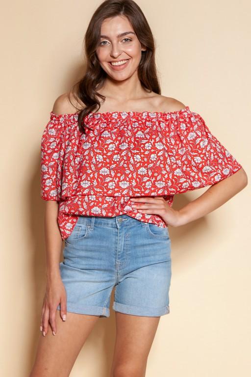 Off-the-shoulder top, BLU153 red pattern
