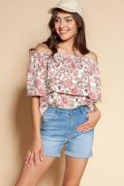 Bluzka z odrkrytymi ramionami / hiszpanka, BLU153 różowy wzór