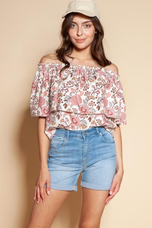Off-the-shoulder top, BLU153 pink pattern