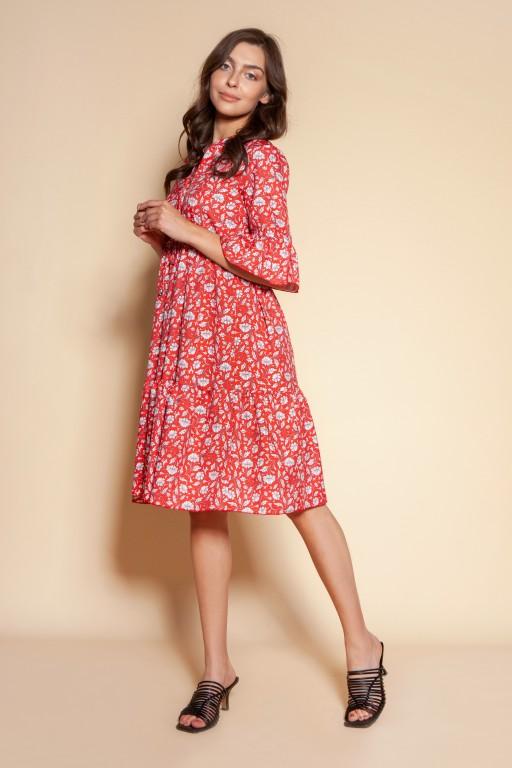 Sukienka z falbanami i troczkiem w pasie, SUK197 czerwony wzór