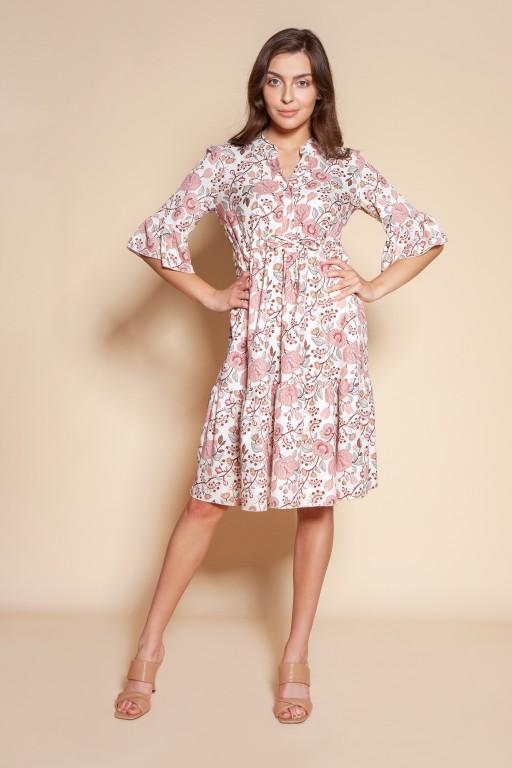 Sukienka z falbanami i troczkiem w pasie, SUK197 różowy wzór