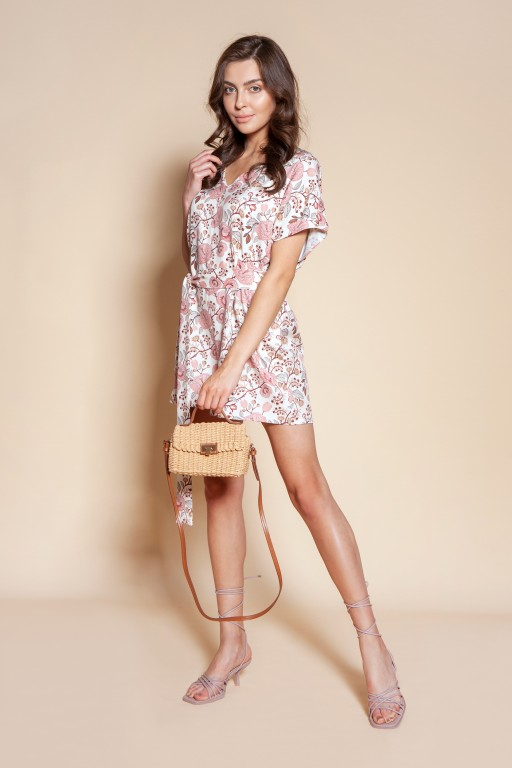 Short jumpsuit with a sash, KB120 pink pattern