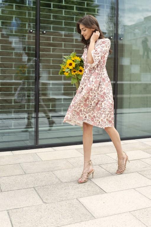 Dress with frills and a drawstring, SUK197 pink pattern