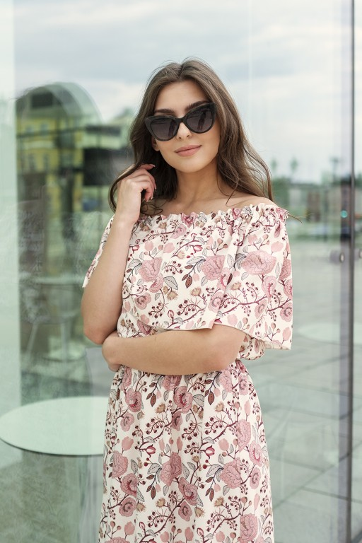 Długa sukienka hiszpanka z rozcięciem, SUK200 różowy wzór