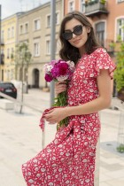 Wrap dress with an asymmetrical bottom, SUK198 red pattern
