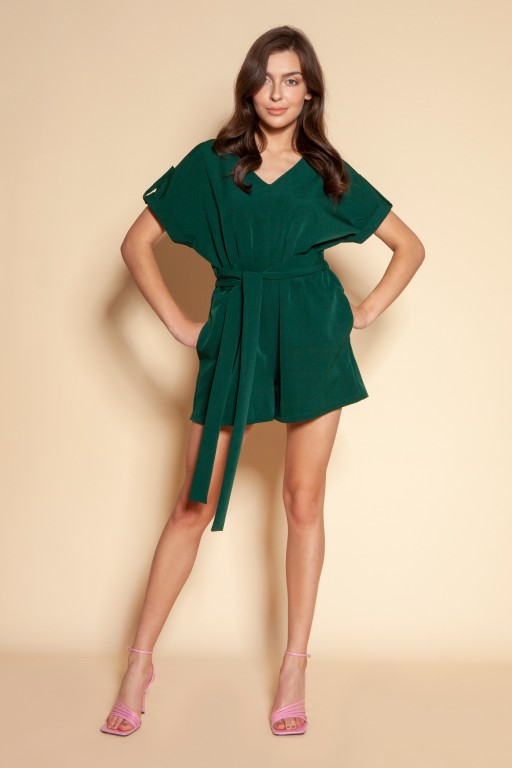 Short jumpsuit with a sash, KB120 green