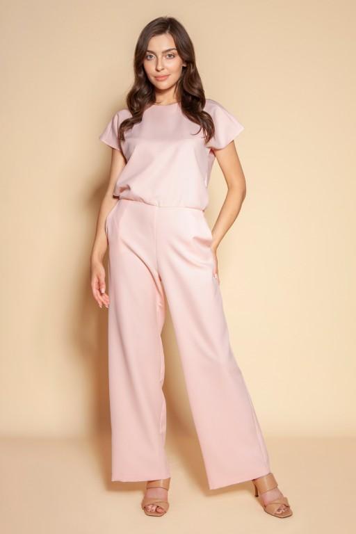 Elegant jumpsuit with open back, KB121 pink