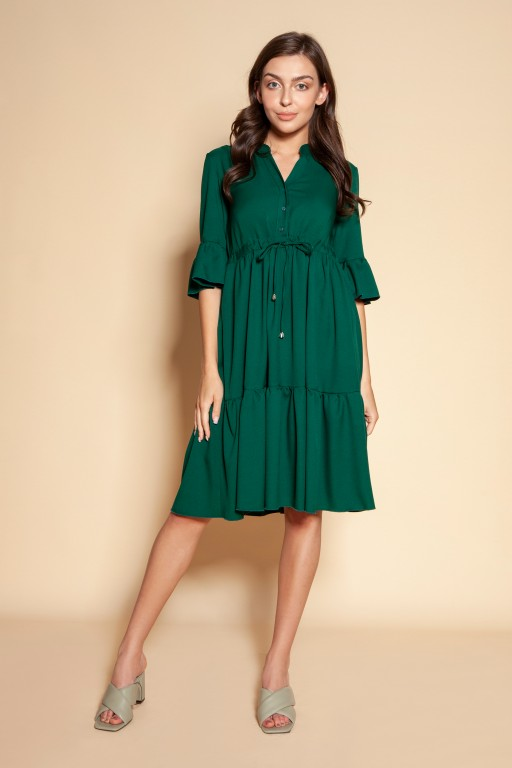 Sukienka z falbanami i troczkiem w pasie, SUK197 zielony