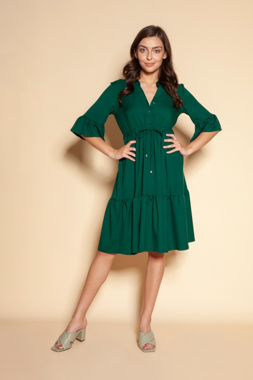 Dress with frills and a drawstring, SUK197 green