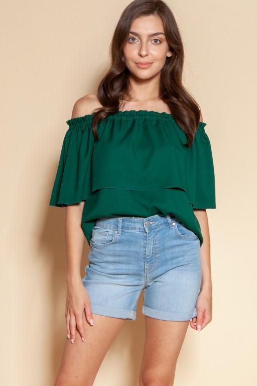 Bluzka z odrkrytymi ramionami / hiszpanka, BLU153 zielony