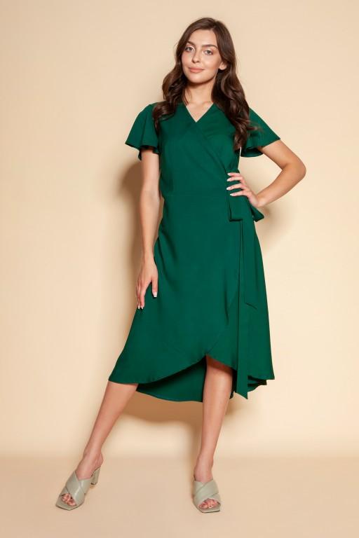 Kopertowa sukienka z asymetrycznym dołem, SUK198 zielony