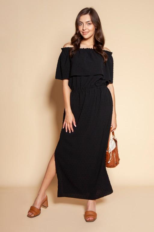 Długa sukienka hiszpanka z rozcięciem, SUK200 czarny