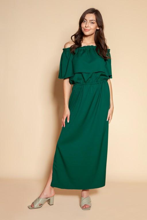 Maxi off-the-shoulder dress, SUK200 green
