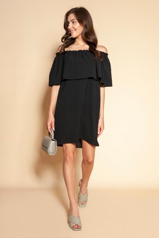 Short off-the-shoulder dress, SUK201 black