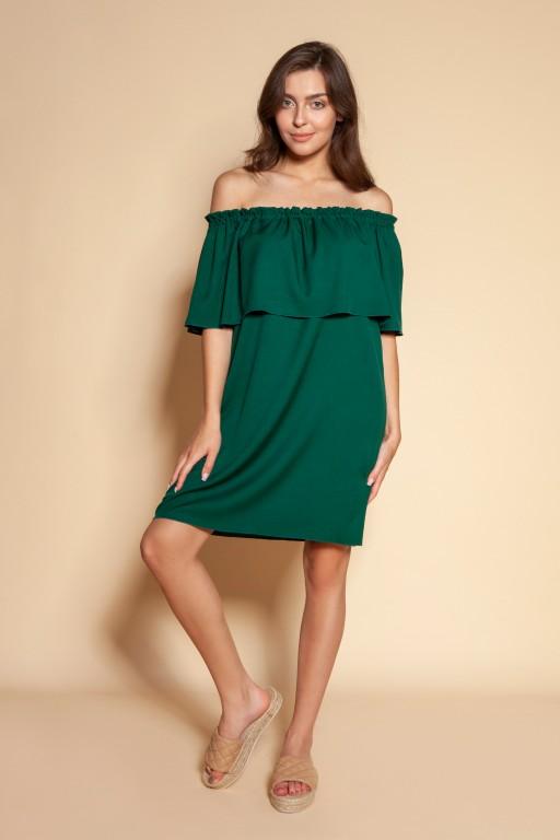 Short off-the-shoulder dress, SUK201 green