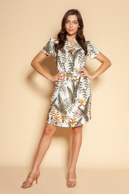 Dress with drawstring and short sleeves, SUK196 ecru