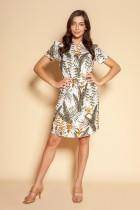 Sukienka z troczkiem i krótkim rękawem, SUK196 ecru