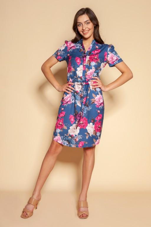 Sukienka z troczkiem i krótkim rękawem, SUK196 kwiaty