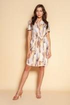 Sukienka z troczkiem i krótkim rękawem, SUK196 beż