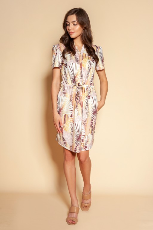 Dress with drawstring and short sleeves, SUK196 beige