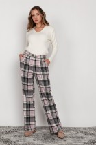 Wide trousers with a flat front, SD124 checkered
