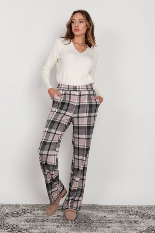 Wide trousers with a flat front, SD124 checked
