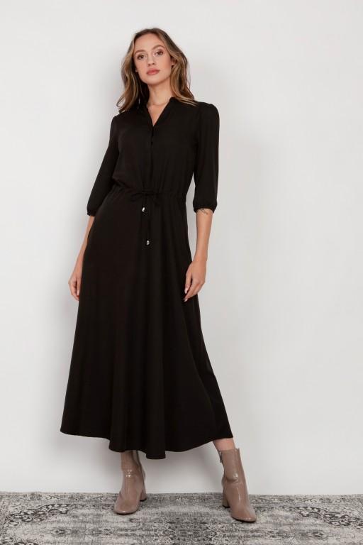 Długa sukienka z rękawem 3/4 i troczkiem, SUK205 czarna