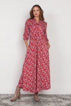 Long dress with 3/4 sleeves and a drawstring, SUK205 red pattern