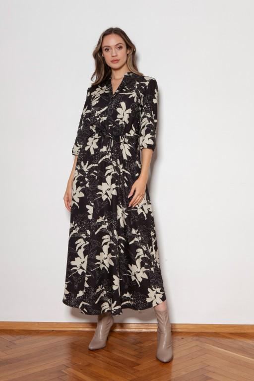 Długa sukienka z rękawem 3/4 i troczkiem, SUK205 wzór liście