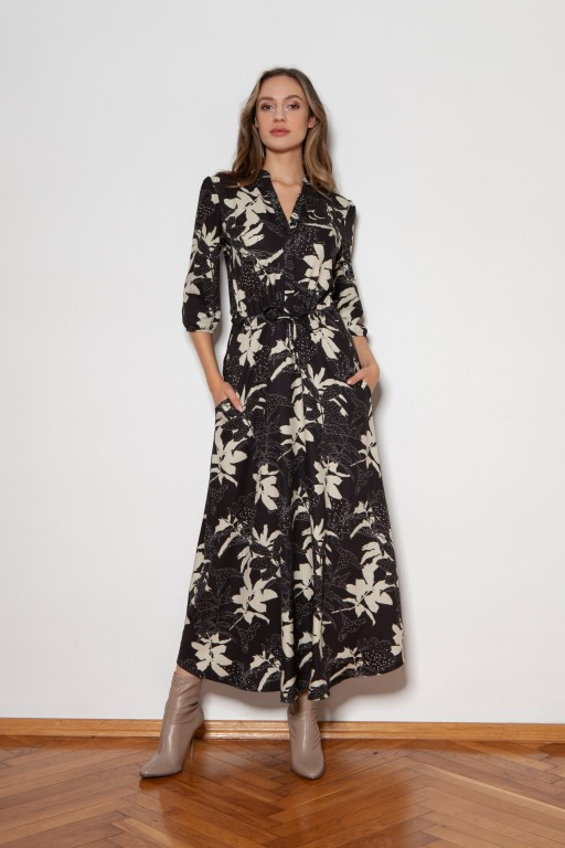 Long dress with 3/4 sleeves and a drawstring, SUK205 leaves pattern
