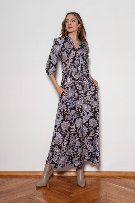 Długa sukienka z rękawem 3/4 i troczkiem, SUK205 wzór kwiaty