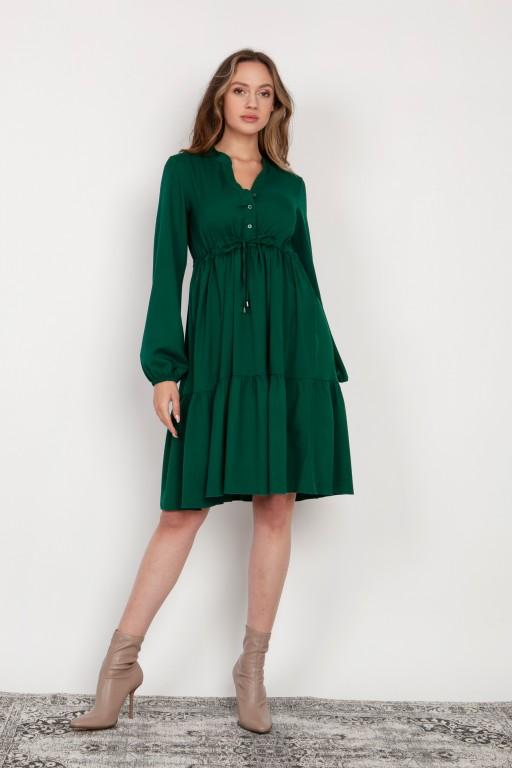 Flared dress with a drawstring, SUK203 green