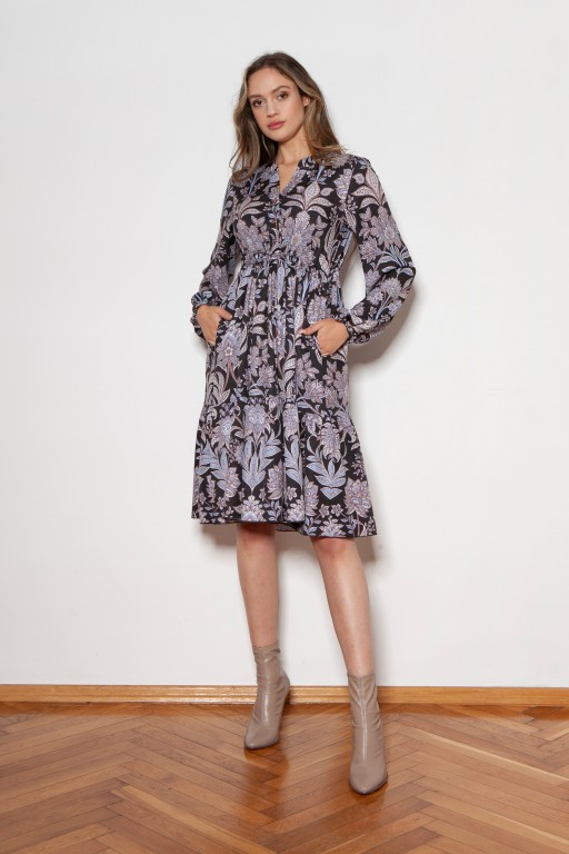 Flared dress with a drawstring, SUK203 flowers pattern