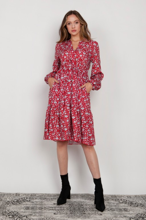 Flared dress with a drawstring, SUK203 red pattern