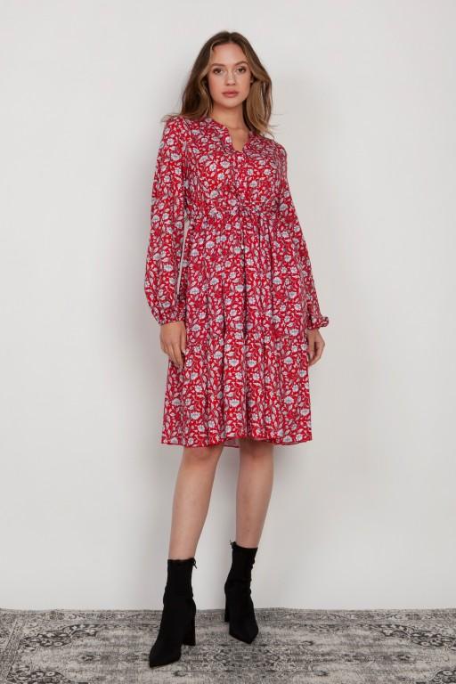 Rozkloszowana sukienka z troczkiem w pasie, SUK203 czerwony wzór