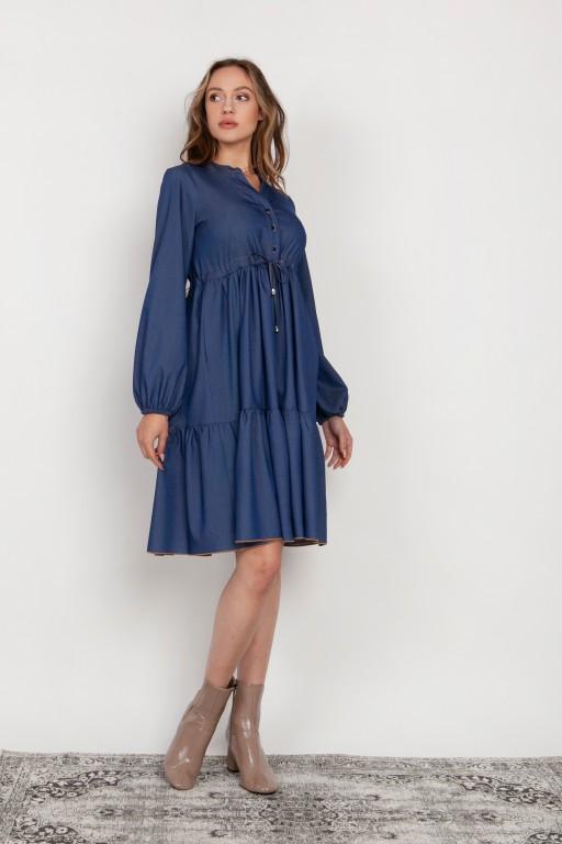 Rozkloszowana sukienka z troczkiem w pasie, SUK203 jeans