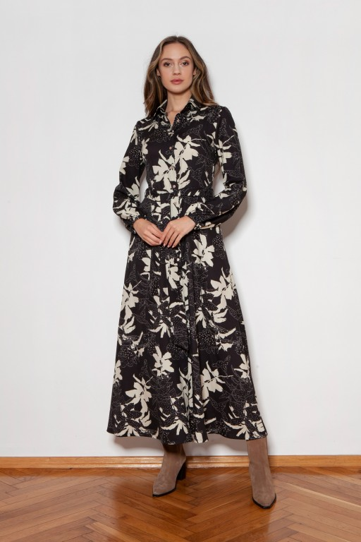 Buttoned maxi dress with a collar, SUK204 leaves pattern