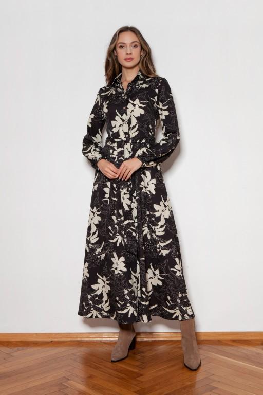 Sukienka maxi na guziki, z kołnierzykiem, SUK204 wzór liście