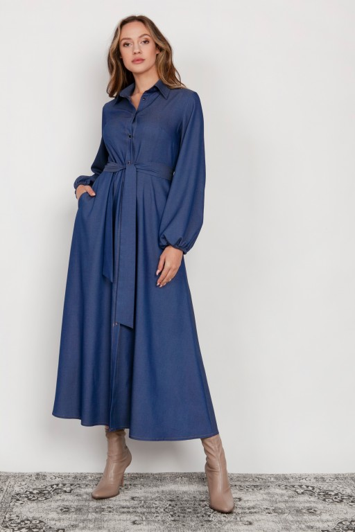 Buttoned maxi dress with a collar, SUK204 jeans