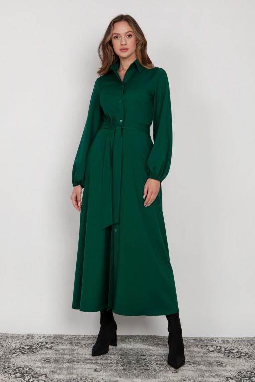 Sukienka maxi na guziki, z kołnierzykiem, SUK204 zielony