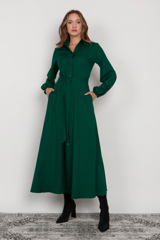 Buttoned maxi dress with a collar, SUK204 green