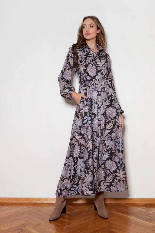Buttoned maxi dress with a collar, SUK204 flowers pattern
