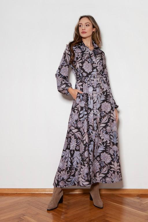 Sukienka maxi na guziki, z kołnierzykiem, SUK204 wzór kwiaty