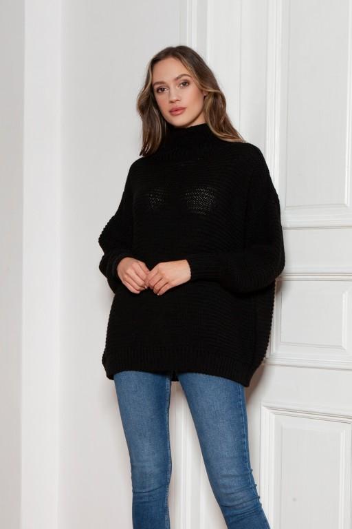 Oversized turtleneck sweater, SWE148 black