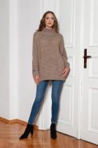 Oversized turtleneck sweater, SWE148 mocca