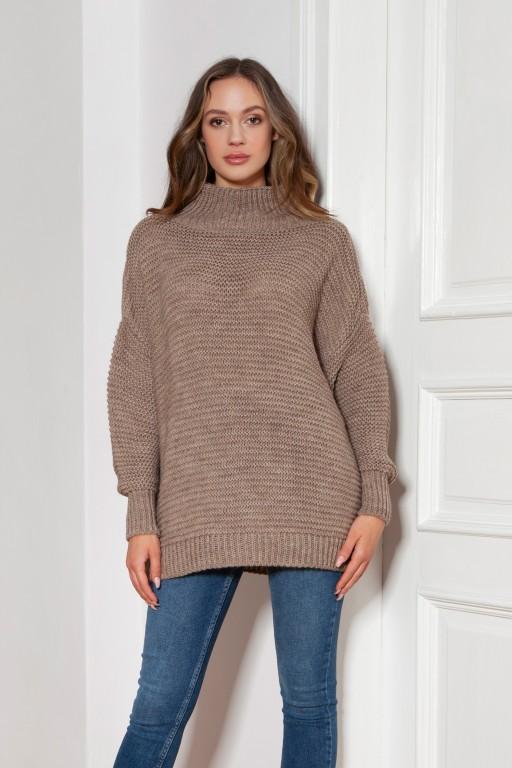 Sweter oversize z golfem, SWE148 mocca