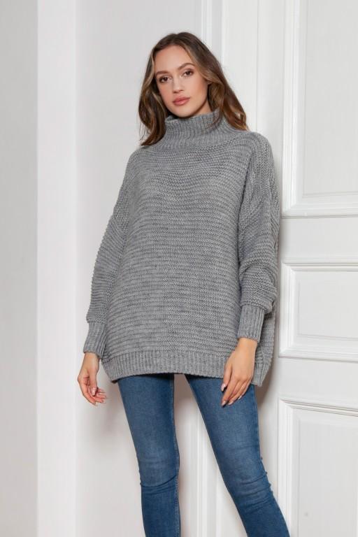 Sweter oversize z golfem, SWE148 szary